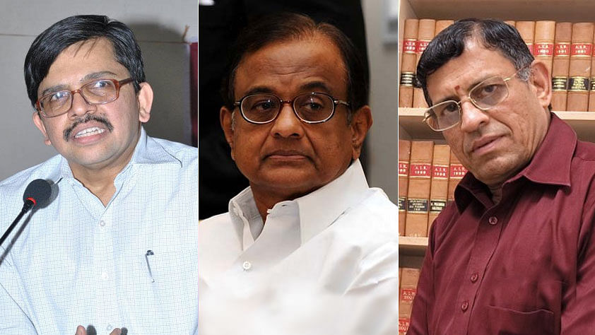 S Gurumurthy (right) appeared to insinuate on Twitter that Justice Muralidhar (left) passed an interim order in favour of P Chidambaram (centre), because he had been his junior.
