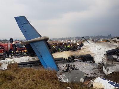 KATHMANDU, March 12, 2018 (Xinhua) -- Photo taken on March 12, 2018 shows the crash-landing site in Kathmandu, Nepal. A passenger plane of the US-Bangla Airlines crashed at Nepal