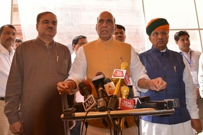 New Delhi: BJP MP Rajnath Singh talks to the press in the presence of party MPs Ananth Kumar and Arjun Ram Meghwal at Parliament in New Delhi on March 15, 2018. (Photo: IANS)