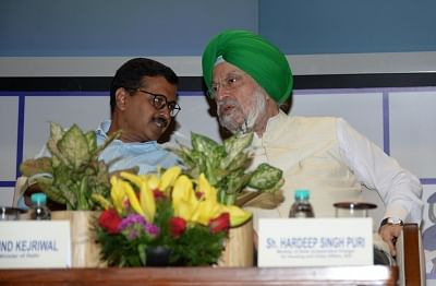 New Delhi: Delhi Chief Minister Arvind Kejriwal in a conversation with Union Minister Hardeep Singh Puri during the inauguration of Majlis Park – Durgabai Deshmukh South Campus section on Delhi Metro