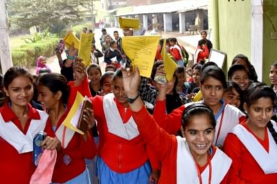 Mathura: High school students students come out of their school after appearing for internal examinations ahead of the board examinations in Mathura on Feb 6, 2018. (Photo: IANS)