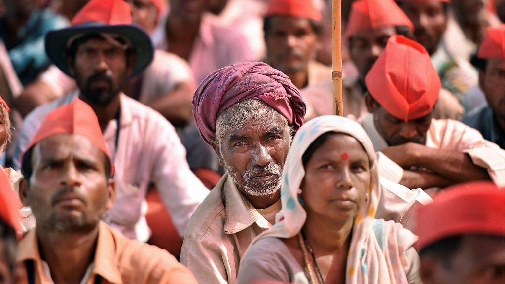Farmers participate in a long march organised by All Indian Kisan Sabha (AIKS) at Azad Maidan in Mumbai on 12 March.