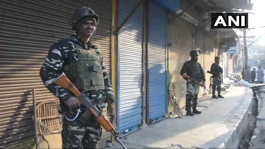 Military stationed at Anantnag's Hakura, where three terrorists were killed in a brief encounter with security forces on Monday, 12 March.