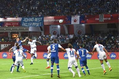 Bengaluru: Players in action during ISL Final between Chennaiyin FC and Bengaluru FC at Kanteerava Stadium in Bengaluru, on March 17, 2018. (Photo: IANS)