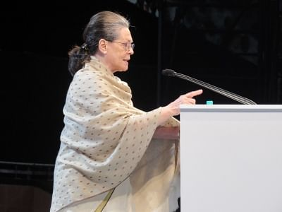 New Delhi: UPA Chairperson Sonia Gandhi addresses during the 84th plenary session of Indian National Congress at the Indira Gandhi Indoor Stadium in New Delhi on March 17, 2018. (Photo: IANS)