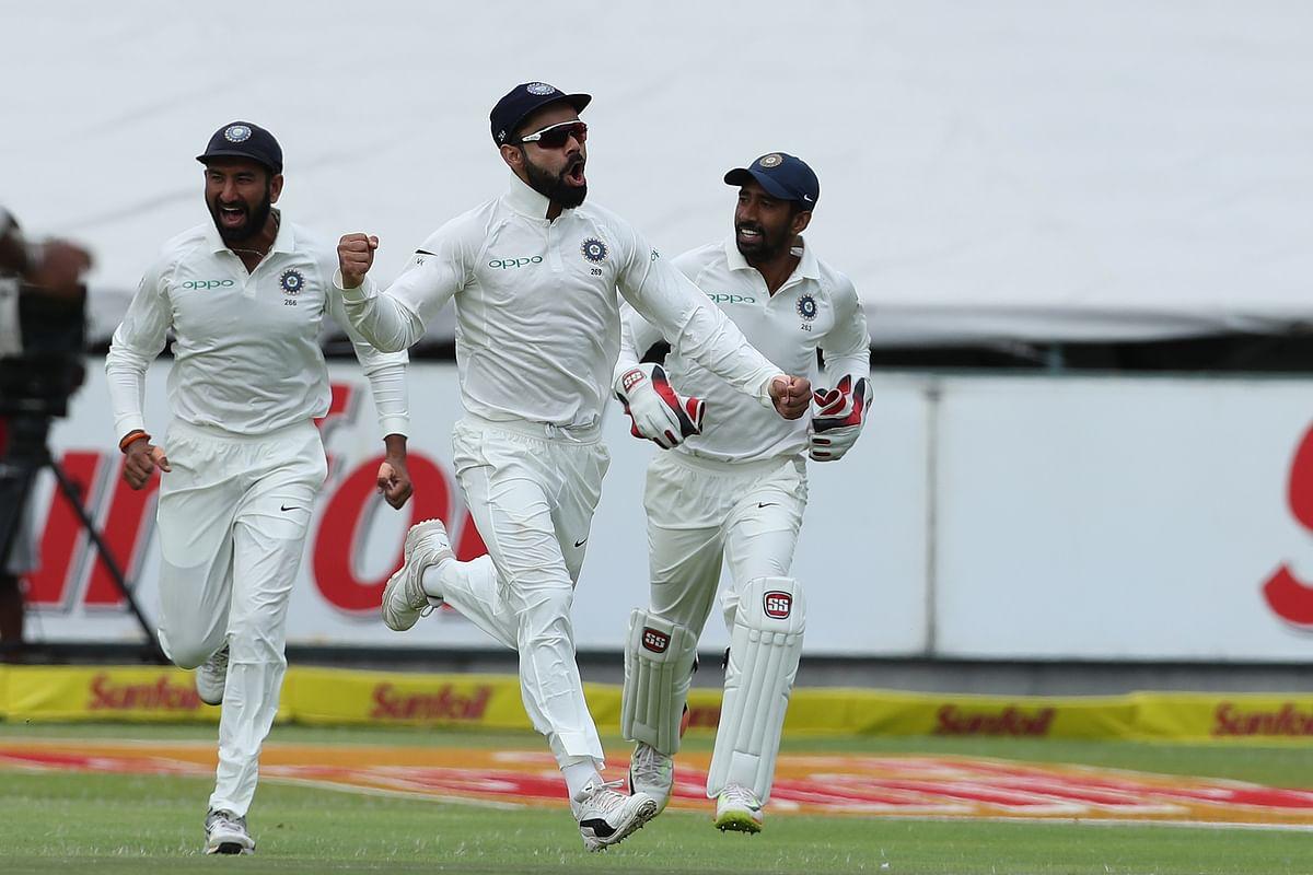 File photo of Virat Kohli celebrating a wicket with his teammates.