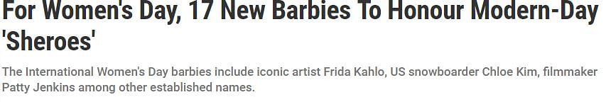 Headline announcing the launch of the new Barbie collection.