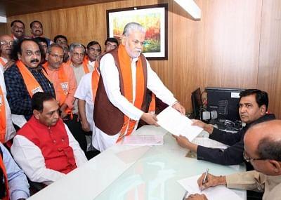 Gandhinagar: BJP candidate for upcoming Rajya Sabha Polls Parshottam Rupala files his nomination papers at Gujarat Assembly on Gandhinagar on March 12, 2018. (Photo: IANS)