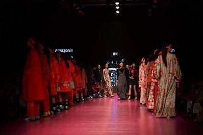 New Delhi: Models showcase creations of fashion designer Pero during Amazon India Fashion Week in New Delhi, on March 17, 2018. (Photo: Amlan Paliwal/IANS)