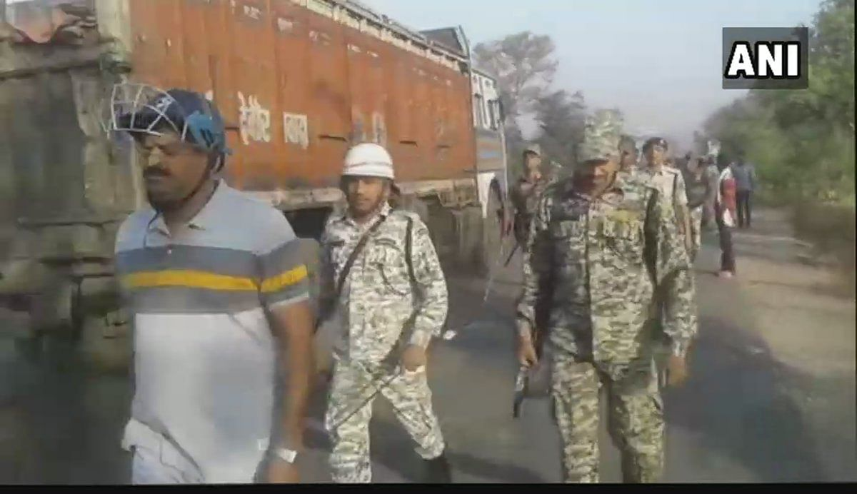 Security personnel on duty amid clashes in Nawada.
