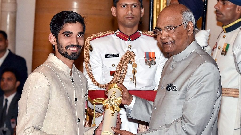 President Ram Nath Kovind confers Padma Shri on Badminton player Kidambi Srikanth during the Padma Awards 2018 function at Rashtrapati Bhavan in New Delhi.