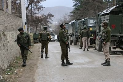 Srinagar: Security beefed up after a BJP leader was attacked by militants in Khonmoh area, on the outskirts of Srinagar on March 15, 2018. The attack triggered a gunfight between militants and security forces. (Photo: IANS)