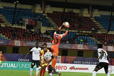 Bhubaneswar: Players in action during a Super Cup 2018 match between NorthEast United FC and Gokulam Kerala FC at Kalinga Stadium in Bhubaneswar on March 15, 2018. (Photo: IANS)