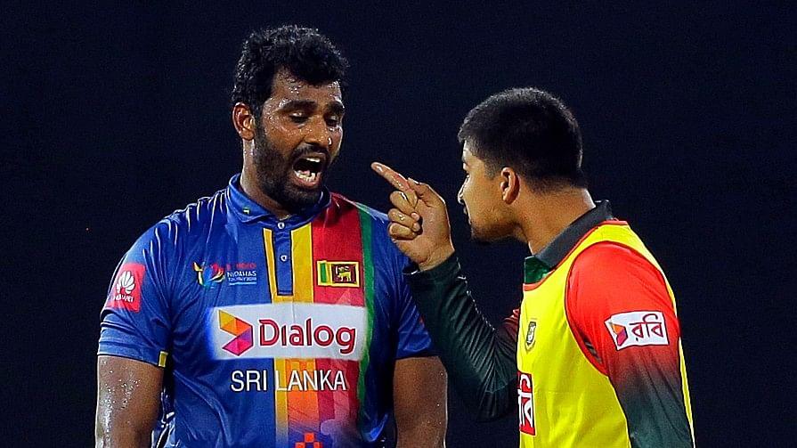 Bangladesh's substitute fielder got into an altercation with Sri Lankan skipper Thisara Perera.