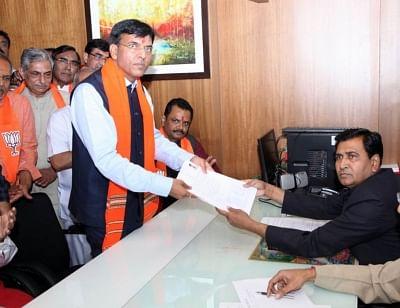 Gandhinagar: BJP candidate for upcoming Rajya Sabha Polls Mansukh Mandaviya files his nomination papers at Gujarat Assembly on Gandhinagar on March 12, 2018. (Photo: IANS)