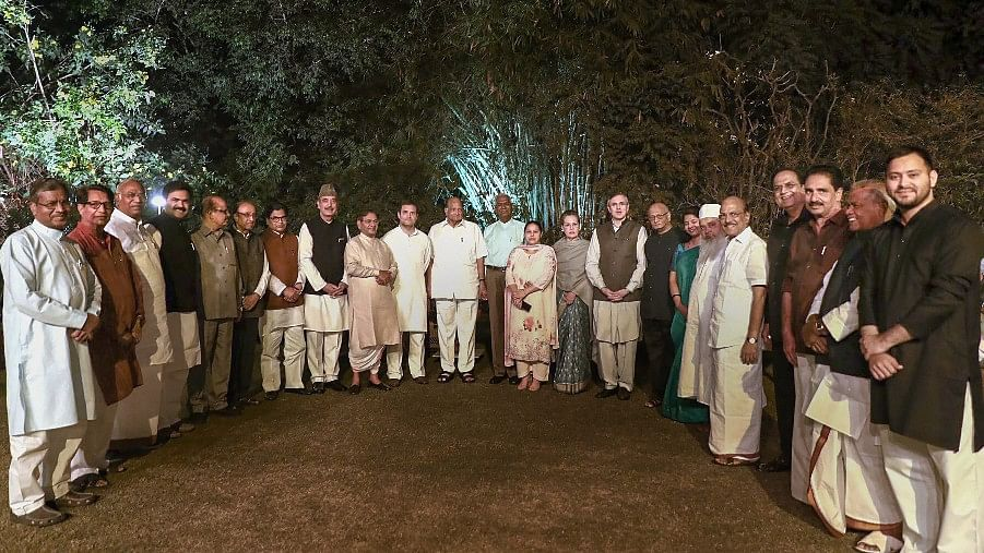 UPA chairperson Sonia Gandhi with opposition leaders before a dinner at her 10, Janpath residence.