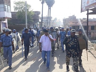 Nawada: Security personnel conduct flag march after communal tension gripped Bihar