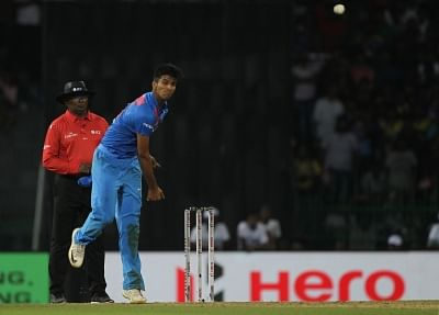 Colombo: Washington Sundar of India in action during the fourth match of 2018 Nidahas Twenty20 Tri-Series between India and Sri Lanka at R.Premadasa Stadium in Colombo, Sri Lanka on March 12, 2018. (Photo: Surjeet Yadav/IANS)