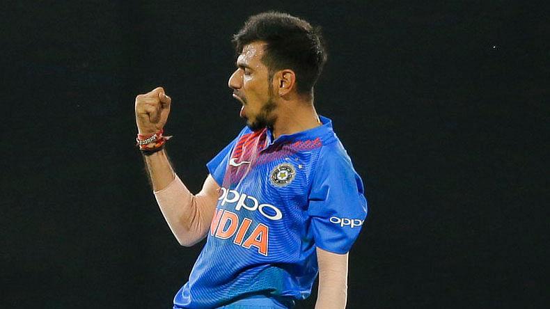 Yuzvendra Chahal celebrates a wicket.