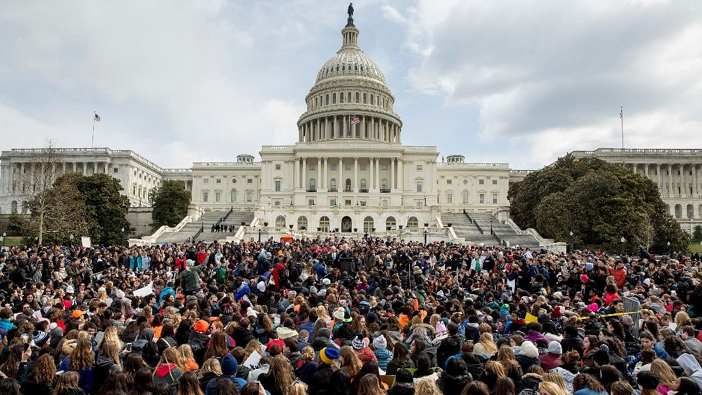 Students rally outside the Capitol Building in Washington DC