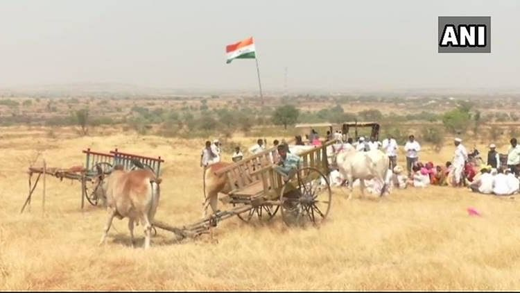 Farmers in Ahmednagar's Khandala Village staged a protest 'as a symbol to show their ownership' of the land which they say was acquired from them by Nirav Modi at less than normal rates.