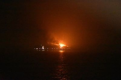 Lakshadweep: A view of the merchant navy ship MV Maersk Honam that witnessed an explosion followed by a massive fire, at Agatti Isles in Lakshadweep on the night of March 6, 2018. The ICG