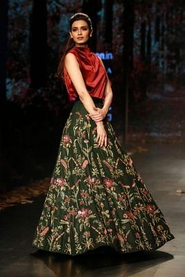 New Delhi: Actress Diana Penty showcases creations of fashion designer duo Shyamal and Bhumika during Amazon India Fashion Week in New Delhi, on March 14, 2018. (Photo: Amlan Paliwal/IANS)