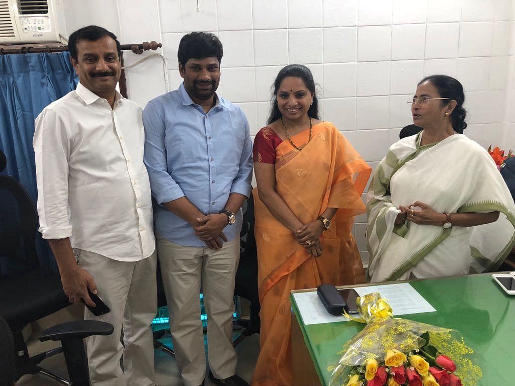 Mamata Banerjee met Telangana Rashtra Samithi MP K Kavitha, daughter of Telangana Chief Minister K Chandrasekhar Rao.