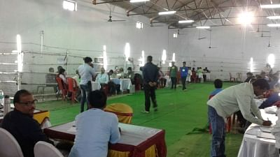 Araria: Counting of votes underway at a counting center in Araria Lok Sabha constituency on March 13, 2018. (Photo: IANS)