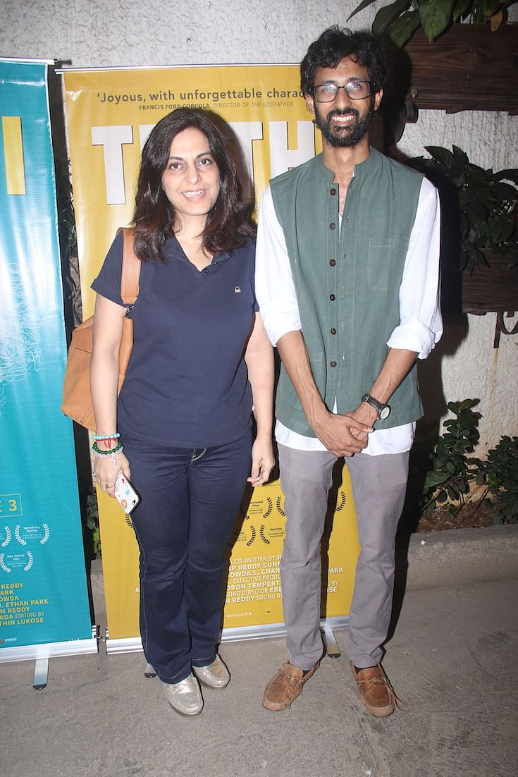 Juhi Chaturvedi with Raam Reddy, director of <i>Thithi</i>.
