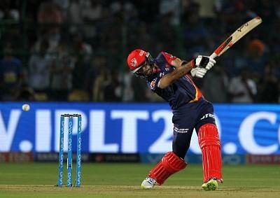 Jaipur: Glenn Maxwell of Delhi Daredevils in action during an IPL 2018 match between Delhi Daredevils and Rajasthan Royals at Sawai Mansingh Stadium in Jaipur on April 11, 2018. (Photo: Surjeet Yadav/IANS)
