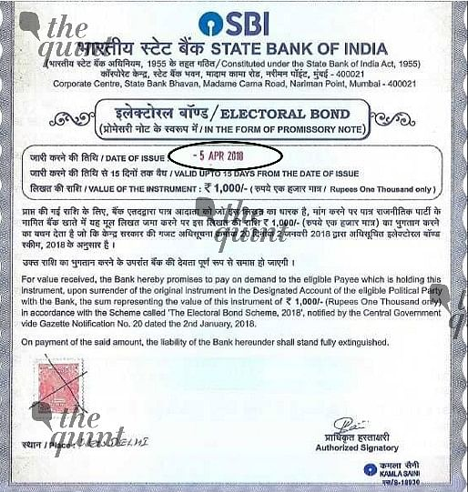 An electoral bond purchased by <b>The Quint</b>.