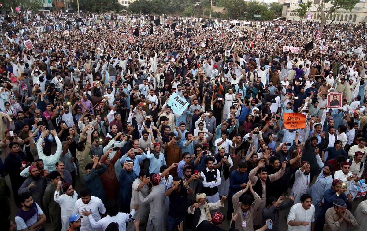 Thousands of Pashtuns from Pakistan's tribes have gathered in the eastern city of Lahore reiterating their call for the release of tribesmen being held by authorities on alleged links to militants