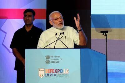 Chennai: Prime Minister Narendra Modi addresses at DefExpo India 2018 at Mahabalipuram near Chennai on April 12, 2018. (Photo: IANS)