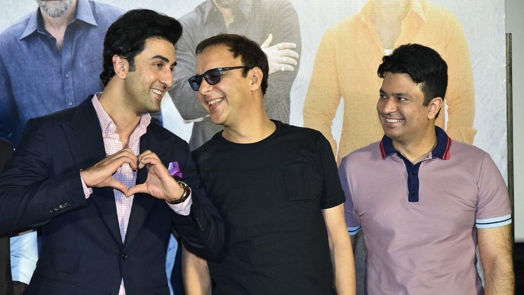 Ranbir Kapoor, Vidhu Vinod Chopra and Bhushan Kumar at the<i> Sanju </i>teaser launch.&nbsp;