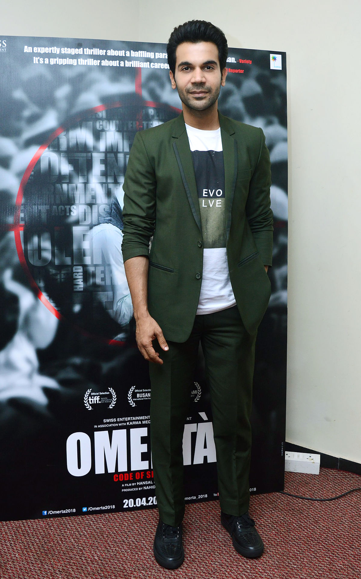 Rajkummar Rao was spotted promoting his upcoming <i>Omerta</i>, in which he plays Omar Saeed Sheikh, one of the most feared terrorists in the world