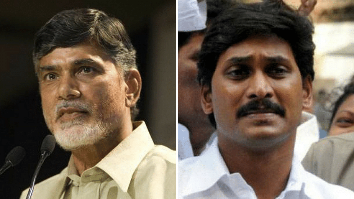 Andhra Pradesh Chief Minister Chandrababu Naidu (left) and YSRCP chief Jagan Mohan Reddy.