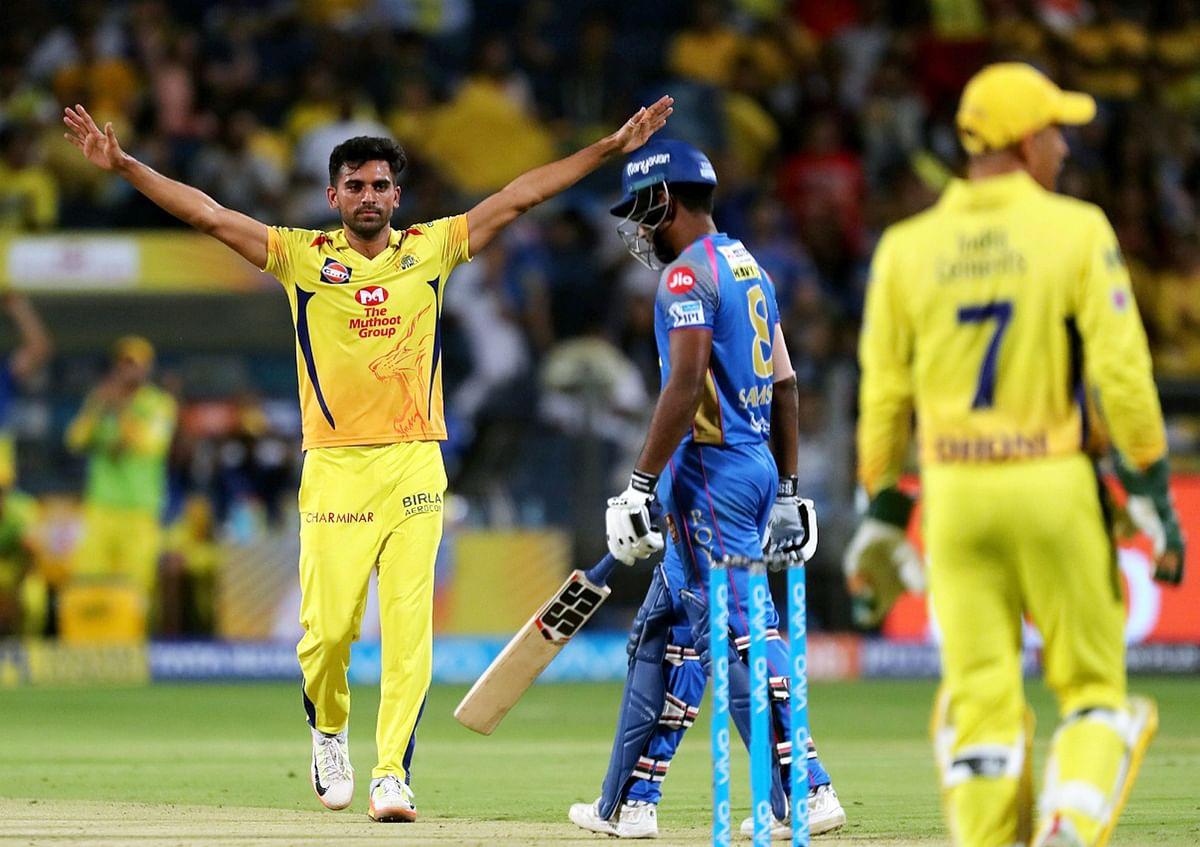 Pune: Deepak Chahar of  Chennai Super Kings celebrates the wicket of Sanju Samson of Rajasthan Royals during an IPL game in Pune on Friday.