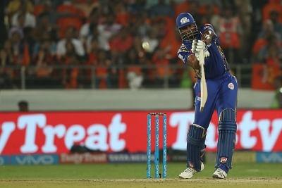 Hyderabad: Kieron Pollard of Mumbai Indians in action during an IPL 2018 match between Sunrisers Hyderabad and Mumbai Indians at Rajiv Gandhi International Cricket Stadium in Hyderabad on April 12, 2018. (Photo: BCCI/IANS) (Credit Mandatory)