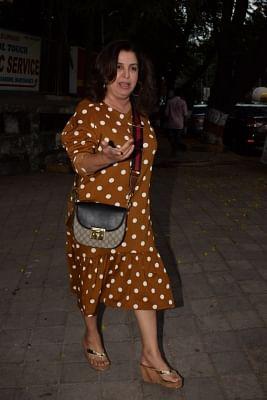 Mumbai: Filmmaker Farah Khan seen outside a Juhu salon in Mumbai, on March 28, 2018. (Photo: IANS)