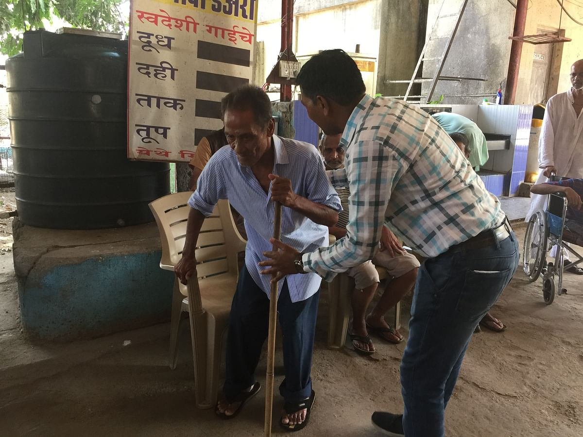 Gambhir Singh at a shelter home in Mumbai after being found due because of a YouTube video.