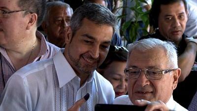 ASUNCION, April 23, 2018 (Xinhua) -- Mario Abdo Benitez (L), presidential candidate of Paraguay