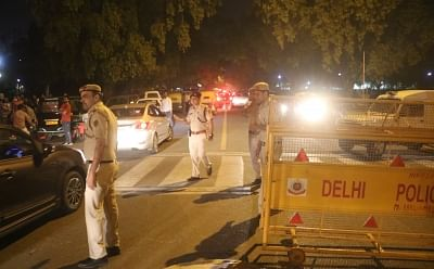 New Delhi: Police personnel deployed at India Gate during a candlelight vigil called by Congress President Rahul Gandhi to protest against incidents of rape in Unnao (Uttar Pradesh) and Kathua (Jammu and Kashmir) in New Delhi on April 12, 2018. (Photo: Bidesh Manna/IANS)