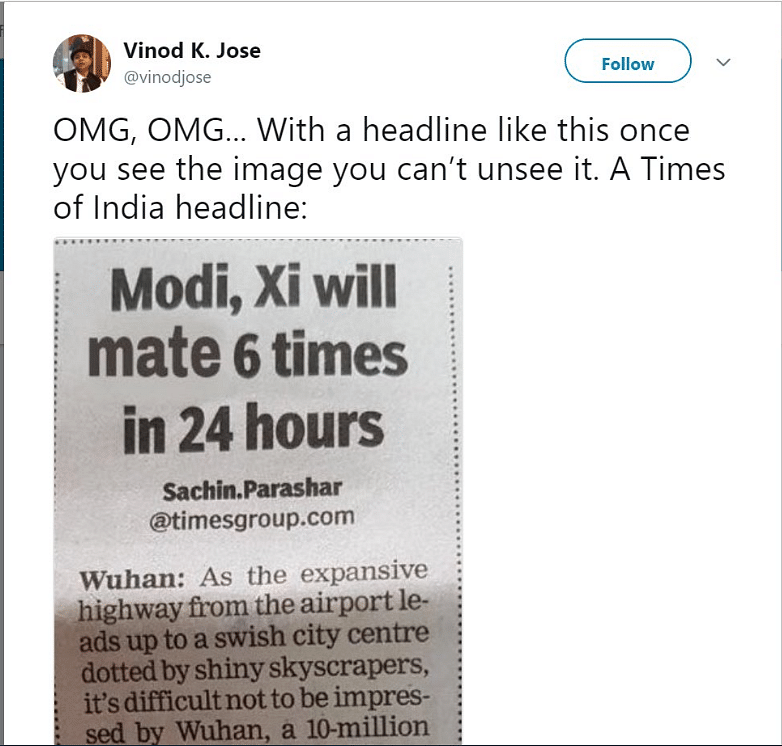 No, Times of India Didn't Say Modi and Xi Will 'Mate' in Wuhan