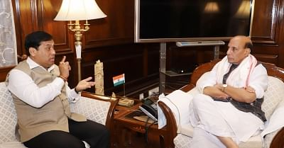 New Delhi: Assam Chief Minister Sarbananda Sonowal calls on Union Home Minister Rajnath Singh, in New Delhi on April 12, 2018. (Photo: IANS/PIB)