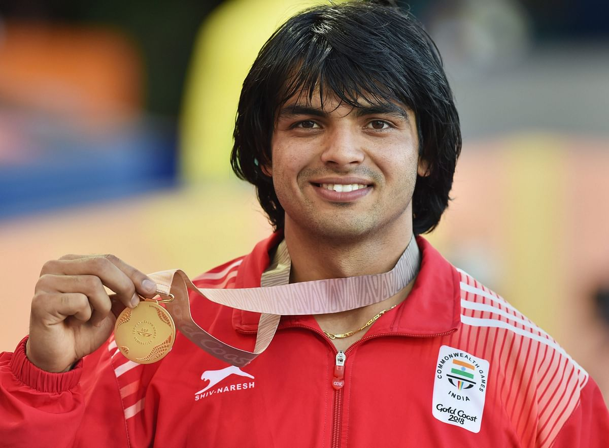 Men's javelin gold medalist India's Neeraj Chopra stands on the podium at Carrara Stadium during the 2018 Commonwealth Games on the Gold Coast, Australia, Saturday, 14 April 2018.