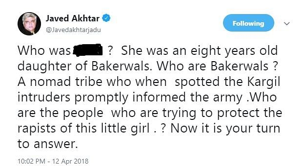 Javed Akhtar Tweets about Unnao and Kathua rape cases.