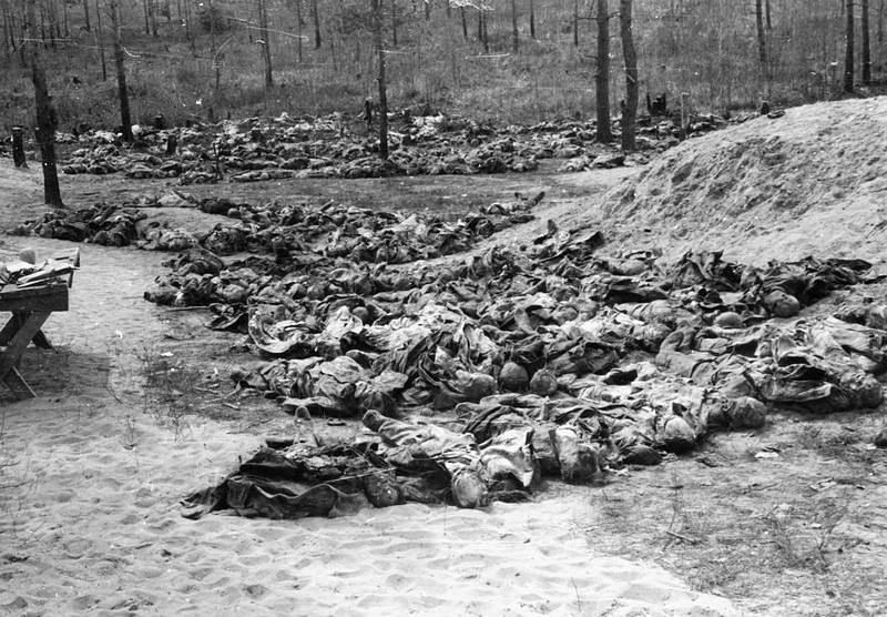 The Katyn Massacre, 1940: Rows of exhumed bodies of Polish officers placed on the ground by the mass graves, awaiting examination. <i>Date: 30 April 1943 </i><i>(World War II)</i>