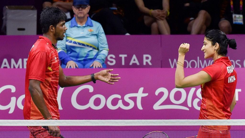 Indian mixed badminton pair Ashwini Ponnappa and Satwik Rankireddy.