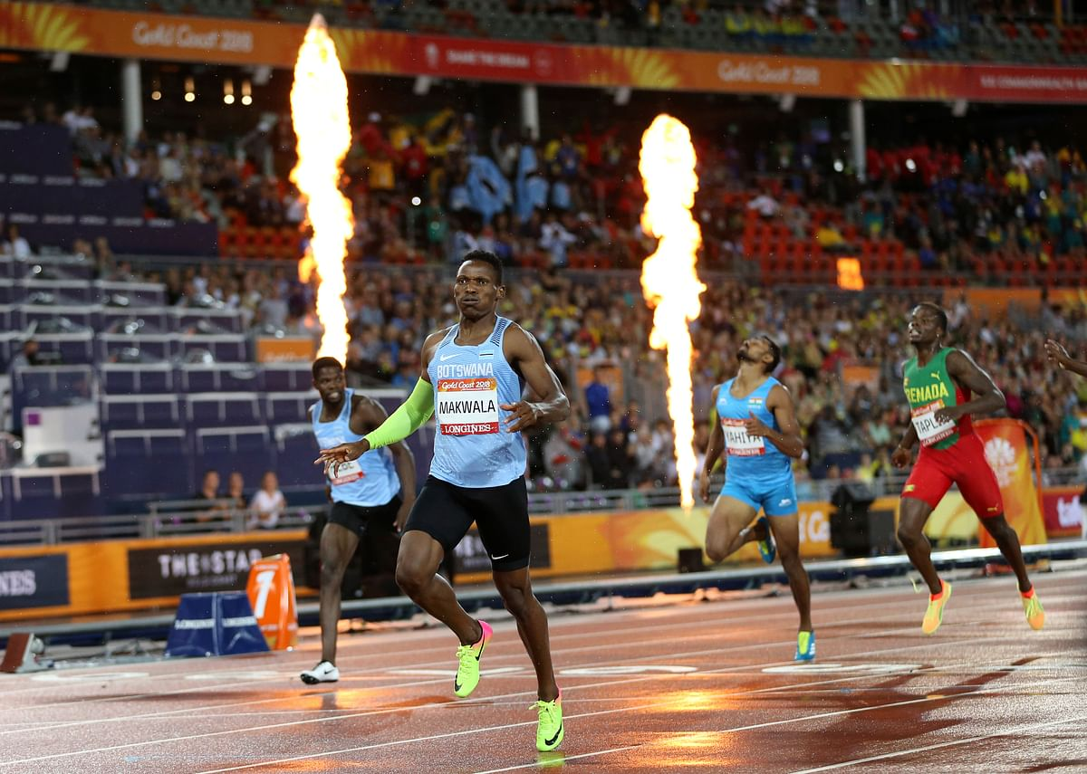 Botswana's Isaac Makawala celebrates as he crosses the finish line to win the men's 400m final at Carrara Stadium during the 2018 Commonwealth Games on the Gold Coast, Australia, Tuesday, April 10, 2018.